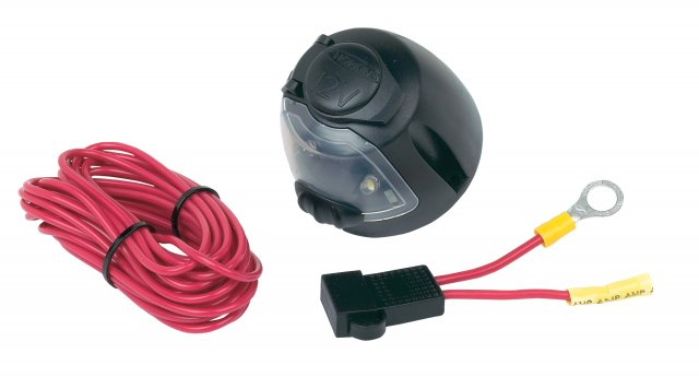 12V Power Socket w/ Utility light, 17 ft. wire & fuse assembly